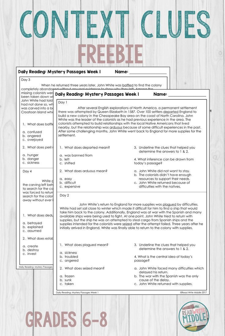 Daily Reading Comprehension Passages For Context Clues Practice Middleschool Reading Context Clues Cloze Reading Reading Comprehension Activities [ 1095 x 736 Pixel ]