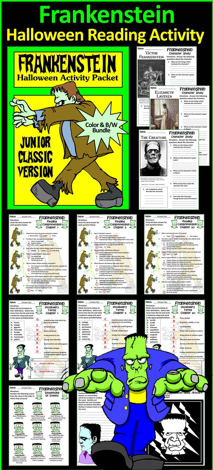 Frankenstein Junior Classic Novel Halloween Activity Packet Bundle : This Halloween language arts activity packet complements the Junior Classic Version of Mary Wollstonecraft Shelley's novel adapted by Bethany Snyder. Included are reading comprehension quizzes & vocabulary worksheets, an event sequencing worksheet,  character study worksheets, writing assignments, and a stained glass art project of the Creature.  #Halloween #Frankenstein #Novel #Reading #Activities #Teacherspayteachers