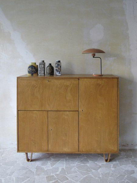 Cees Braakman cabinet 1952. Louis Kalff table lamp for Philips, Netherlands…