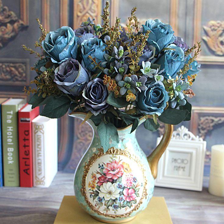 Bonito , charmoso delicioso palácio Earl Rose Multi Color Artificial Flowers Hotel casamento casa decorativa em Flores & coroas decorativas de Casa & jardim no AliExpress.com   Alibaba Group