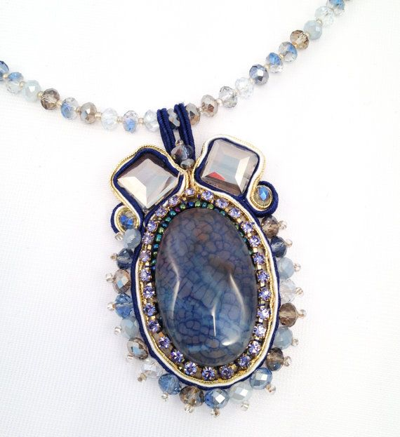 Necklace with  Soutache pendant  blue and di RoxaneItalianJewelry