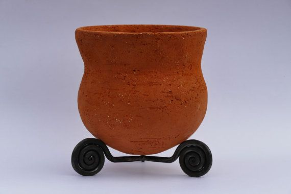 Clay Planter  Neolithic Pot Forged Iron Stand by GlinkaDesign