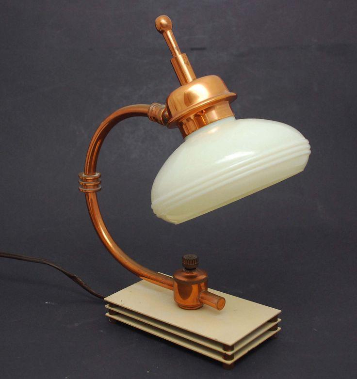 Unusual Vintage Deco Industrial Copper Glass Shade Desk Lamp Machine Age   eBay
