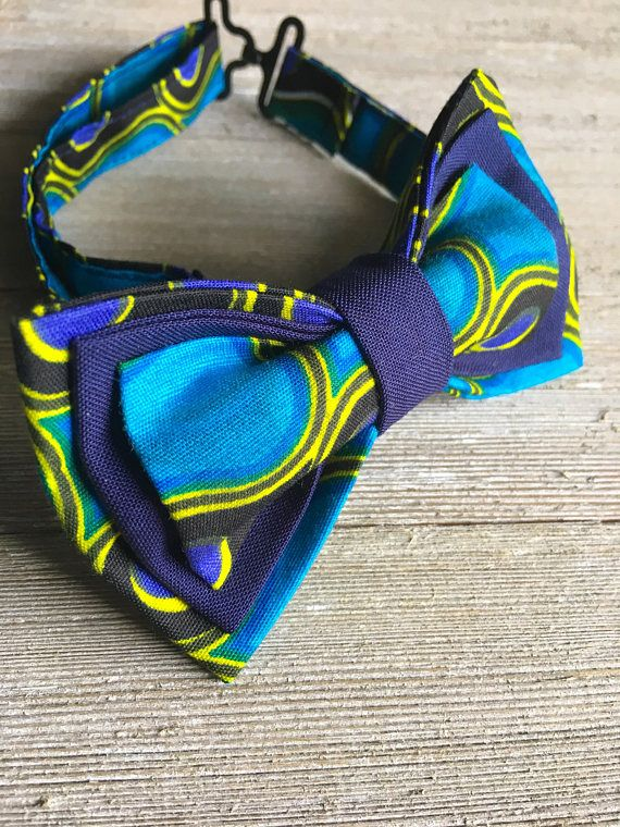 African fabric bow tie mens bow tie kids bow tie blue bow