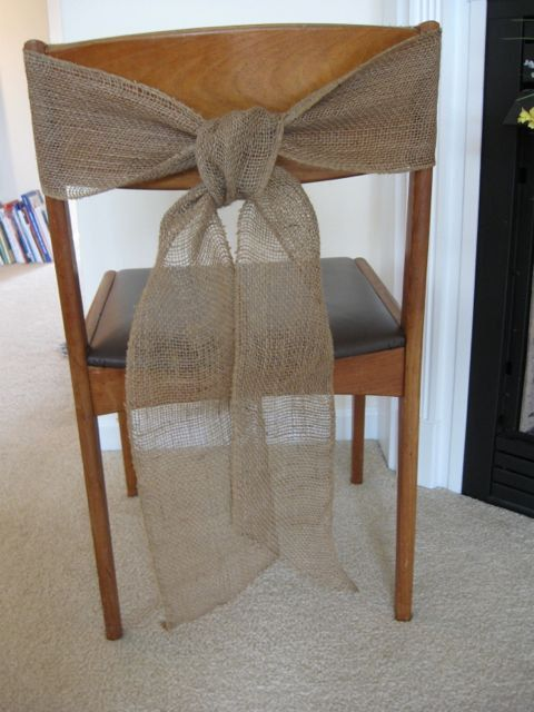 burlap chair sash tie wedding bow ribbon wreath reception wreath natural country rustic woodland engagement party bridal shower.