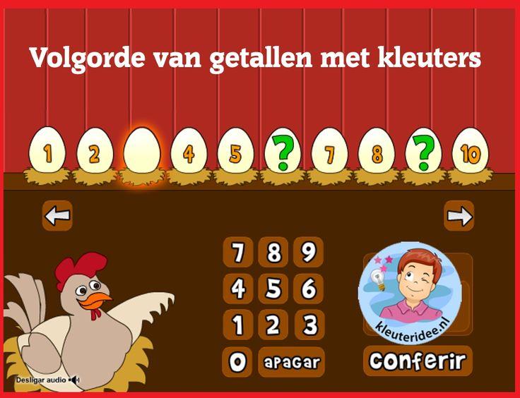 Volgorde van getallen met kleuters op digibord of computer op kleuteridee, Kindergarten educative game for IBW or computer
