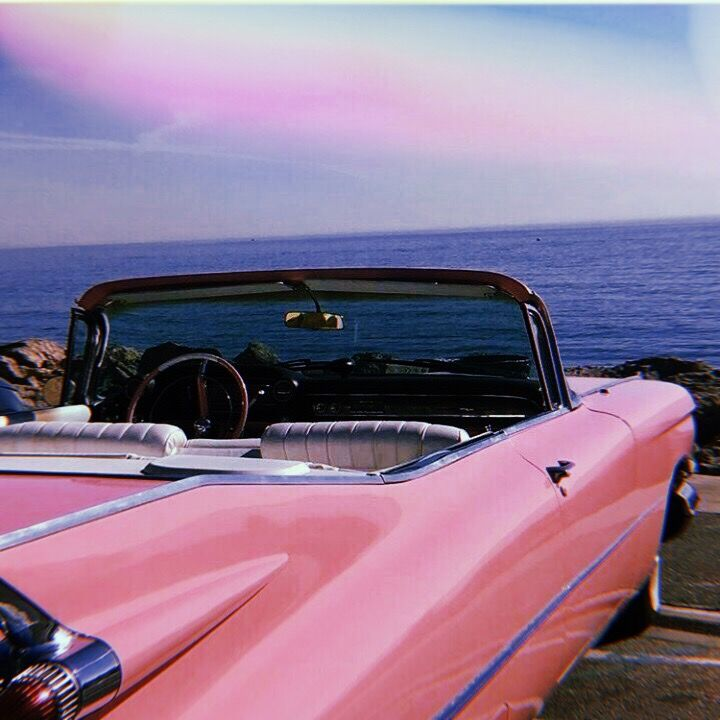 #beach #ocean #vintage #mustang #convertable #sunset # ...