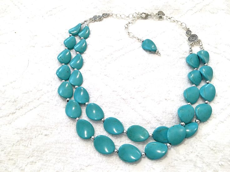 TURQUOISE Necklace ~ Double Strands ~ Statement Necklace ~ Bridal Jewelry ~ Wedding Accessory by CJsJewelryWorks on Etsy