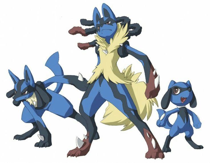 Pokemon : Lucario, Mega Lucario and Riolu
