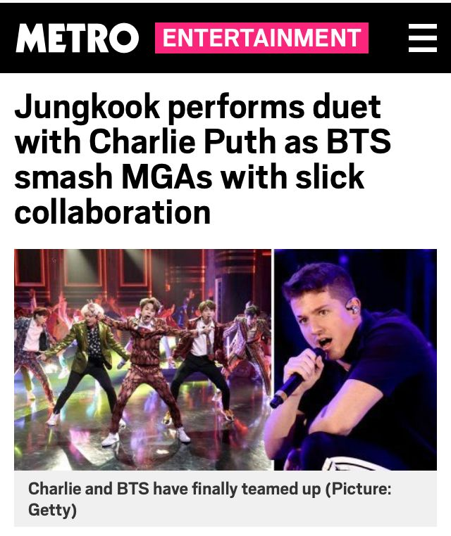Jungkook performs duet with Charlie Puth as BTS smash MGAs