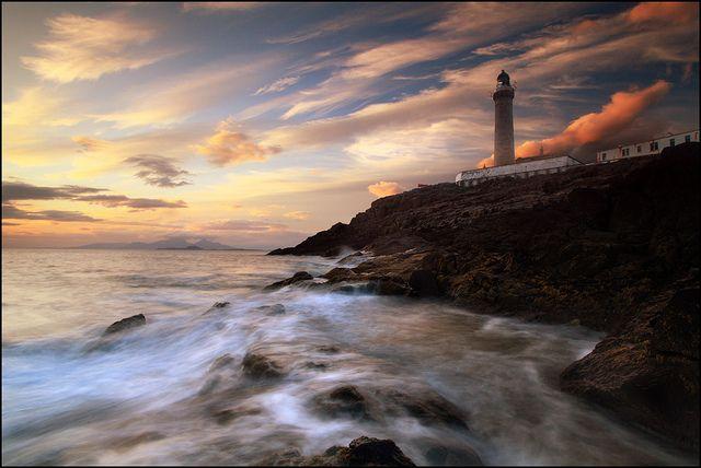 Ardnamurchan Lighthouse, as the summer sun is setting on Scotlands western coast
