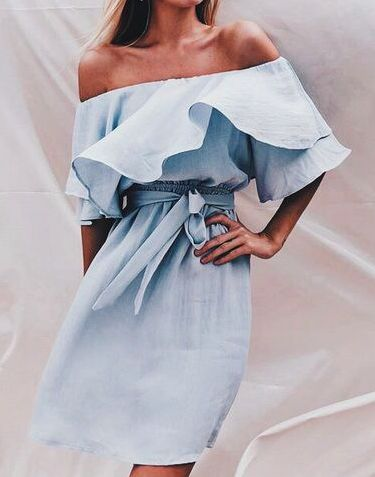 off shoulder ruffle dresses