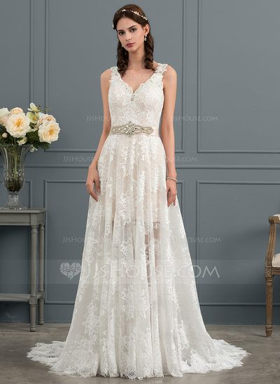 a4914cce7ce  US  262.00  A-Line Princess V-neck Court Train Lace Wedding Dress With Beading  Sequins Bow(s)