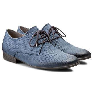 Pantofi dama Oxford fara toc albastri