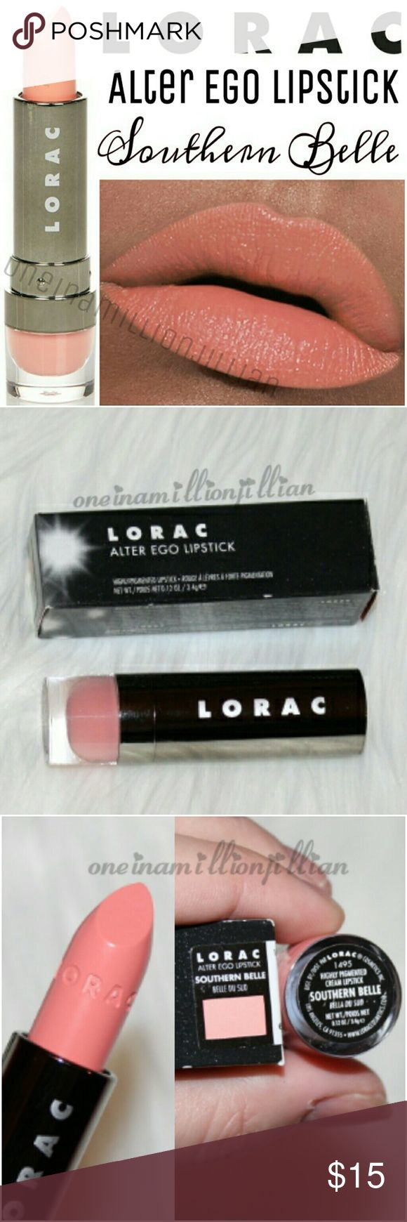LORAC Alter Ego Lipstick - Southern Belle New in Box - Never Used  Full Sz & Authentic  Color: Southern Belle (light peach)  Instantly transform your look with LORAC Alter Ego Lipstick. This sexy & playful lipstick coats your lips in highly-pigmented color with an opaque, matte finish. Alter Ego Lipstick contains antioxidants such as Acai Berry, Pomegranate, Grape Seed Extract & Vitamins C & E.  Whether you wish to be a Free Spirit, a Supermodel or a Sex Kitten (even if just for a night)…