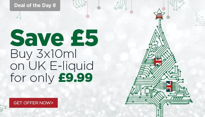 JAC's 12 Vape Deals of Christmas are on now. Including great savings across our range of hardware and e-liquids.  #vapeon #vapefam #christmas #deals #eliquid #vaping #jacvapour