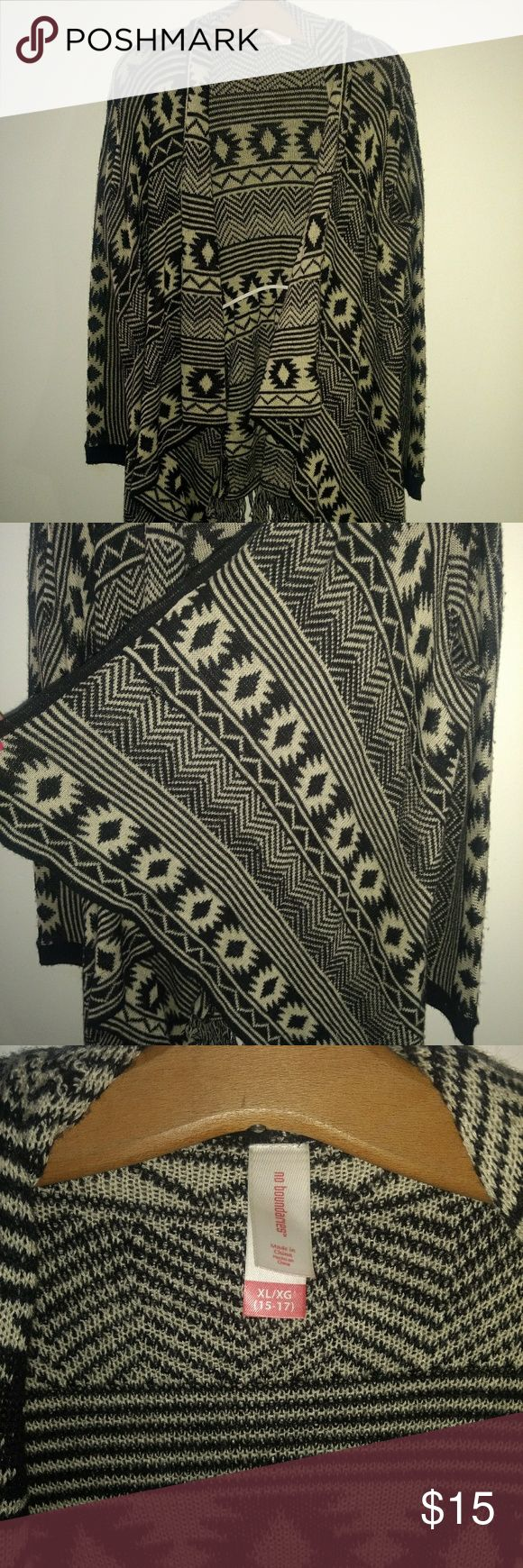 Aztec cardigan Heavier material, great for fall Cream and black Size XL No boundaries No Boundaries Sweaters