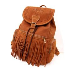 2015 Autumn & winter ladies Brown Fringed Backpack PU Leather Casual Vintage String Drawstring Bag Tassel Laptop Soft Backpack(China (Mainland))