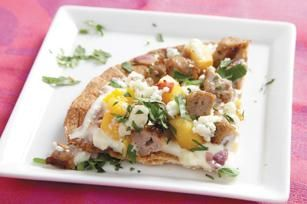 pizza with peaches, and chicken