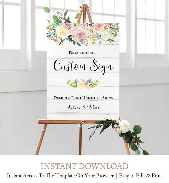 floral wedding signage personalized floral wedding signs instant
