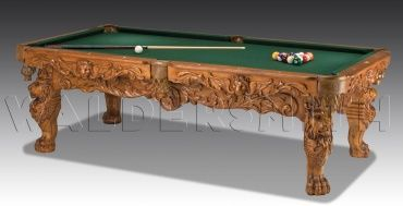 8ft Cortez American Pool Table - The Cortez American Pool Table is boldly ornate in its design, boasting the most detailed finish amongst all the American Pool Tables. Flowering vines unfurl across its sides, and ten beautifully crafted lions endow the table with a majestic poise, enhanced further by its clawed feline feet.