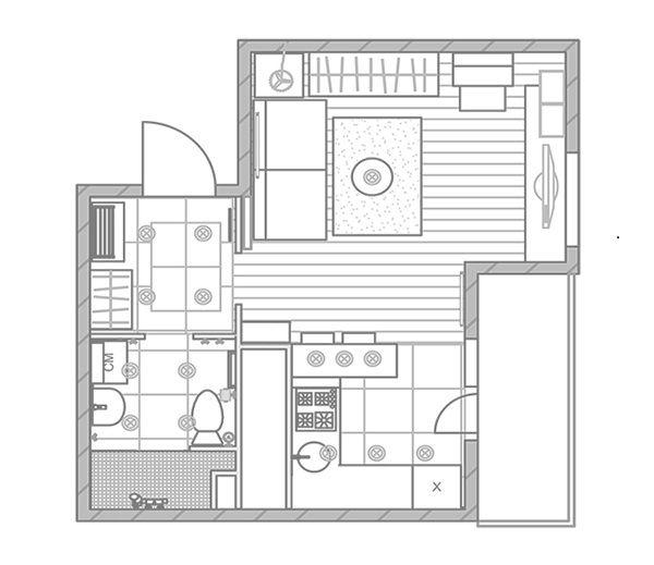 В рассматриваемой квартире-студии очень удачно зонировано пространство, в частности, речь идет о кухне и гостиной. Они находятся в разных частях одного пространства, выдержанного в едином стиле. При входе в квартиру, попадаете в небольшую, но функционально оформленную прихожую, из которой уже ведут двери в санузел и гостиную.