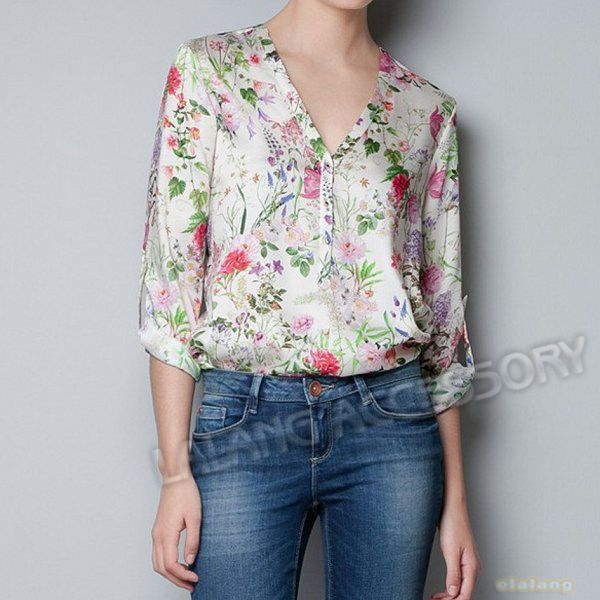 Promotion 1pcs Fashion Summer Lady Flower Printed Simple V-Neck Long Sleeves Loose Chiffon T-Shirt Tops Blouse S/M/L 651664 $9.50