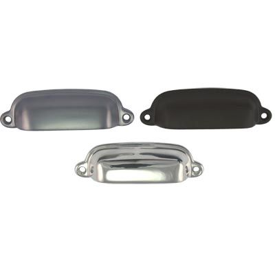 BM Shaker cup pulls - Mother of Pearl and Sons Trading - Small 95 x 25 $18 polished nickel
