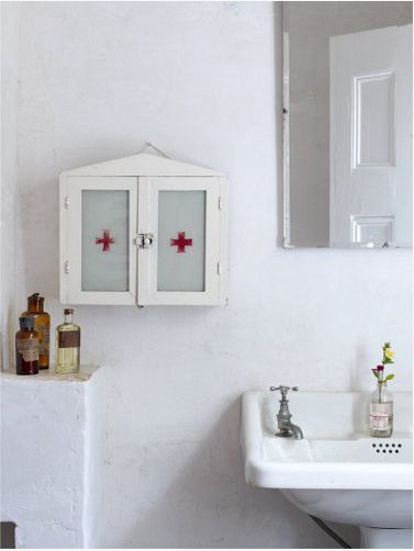 Make your own first aid cabinet for those necessities you want to tuck away!