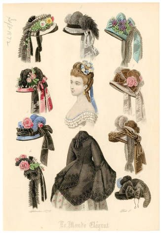 "Headgear 1860-1921, Plate 122.  Fashion plates, 1790-1929. The Costume Institute Fashion Plates. The Metropolitan Museum of Art, New York. Gift of Woodman Thompson (b17509853) | This headgear is from 1871 and was published in ""le monde élégant."" #fashion #headgear"