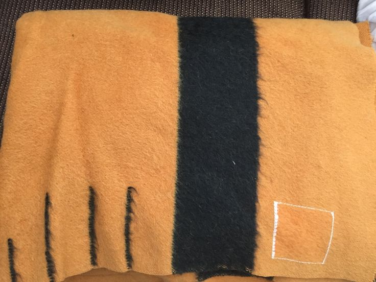 """Hudson's Bay wool blanket: 3.5 point, 62""""x79"""", Harvest Gold with indigo color, 1930's Imperial tones line."""