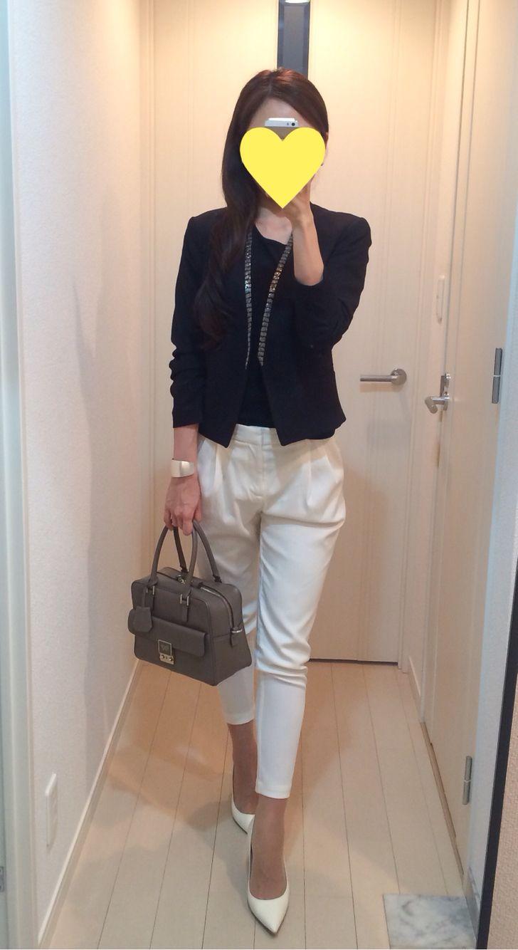 Bijou Jacket: H&M, Tee: Muji, Pants: Des Pres, Bag: Anya Hindmarch, Heels: Jimmy Choo