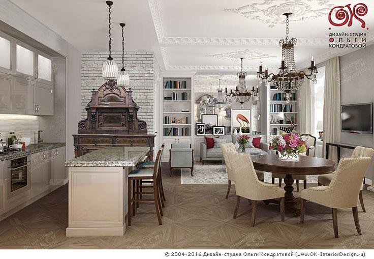 Фото интерьера гостиной совмещенной с кухней