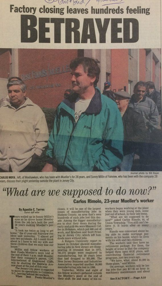 A Jersey Journal story from 1997, when Mueller's told workers they would be closing the Baldwin Avenue plant and moving operations to South Carolina. Courtesy of the New Jersey Room of the Jersey City Free Public Library
