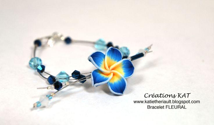 Bracelet, fleur fimo, cristaux, Créations KAT, www.katietheriault.blogspot.com
