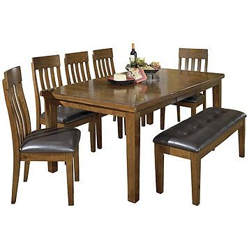 Ralene Butterfly Extension Table With Six Chairs No Bench
