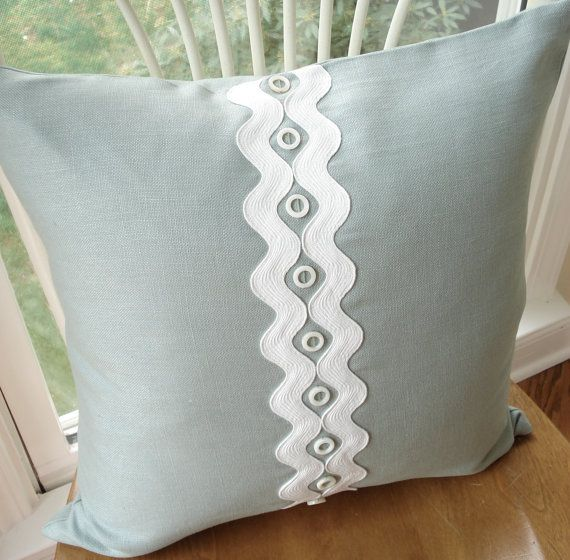 Spa blue linen pillow cover appliqued with white rick-rack and shell beads - 18 x 18