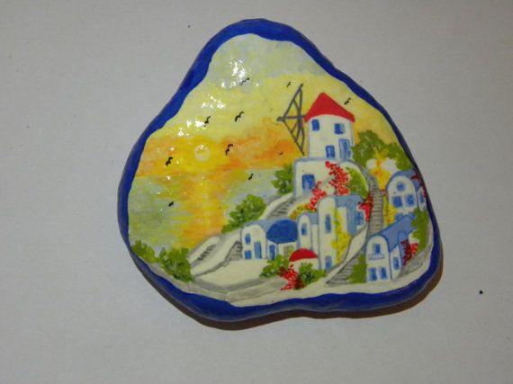 hand painted stone by ARTofSMYRNA on Etsy