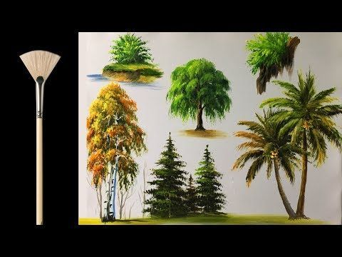 How to paint trees with fan brush - Acrylic lesson - YouTube