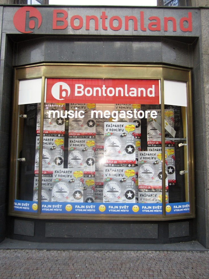 The main window for the only big music store in Prague. Draws you in, doesn't it?