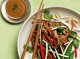 Asian noodle salad with peanut dressing