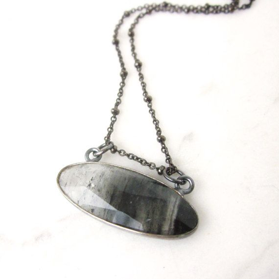 Tourmalinated quartz necklace, oval gemstone necklace, oxidized sterling silver, tourmalated quartz long layering necklace, stone pendant