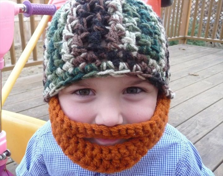Crochet Baby Hat With Beard- 16 Easy Crochet Hats For Kid's | DIY to Make                                                                                                                                                                                 More