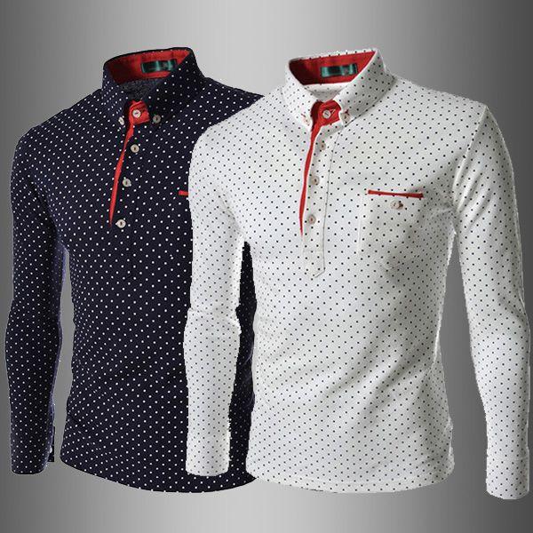 e4a77635167 Aliexpress.com  Compre Moda britânica homens Camisa de bolinhas 2014 novo  estilo europeu camisas. Men s Polo ShirtsMen ...