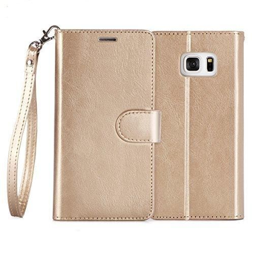 Galaxy S7 Case FYY [Top-Notch Series] Premium PU Leather Wallet Case Protective Cover for Samsung Galaxy S7 Gold