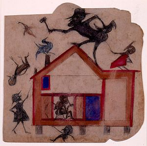 Bill Traylor | American, 1854–1949 | Untitled [Exciting Event: House with Figures] | ca. 1939-1942 | Poster paint and pencil on cardboard | Overall: 13 1/2 x 13 7/8in. (34.3 x 35.2cm) Framed/Mounted: 21 3/4 x 21 3/4 x 1 1/2in. (55.2 x 55.2 x 3.8cm) | High Museum of Art, Atlanta, Georgia, T. Marshall Hahn Collection | Number: 1997.114: Exciting Event, Folk Art, Outsider Artists, Untitled Exciting, Folk Outsider, Atlanta, Bill Traylor, Drawing