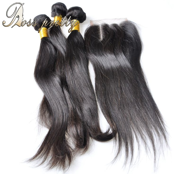 Brazilian Virgin Hair with Closure 7A Brazilian Straight with Closure Brazilian Virgin Hair 3 Bundle Deals with Lace Closure