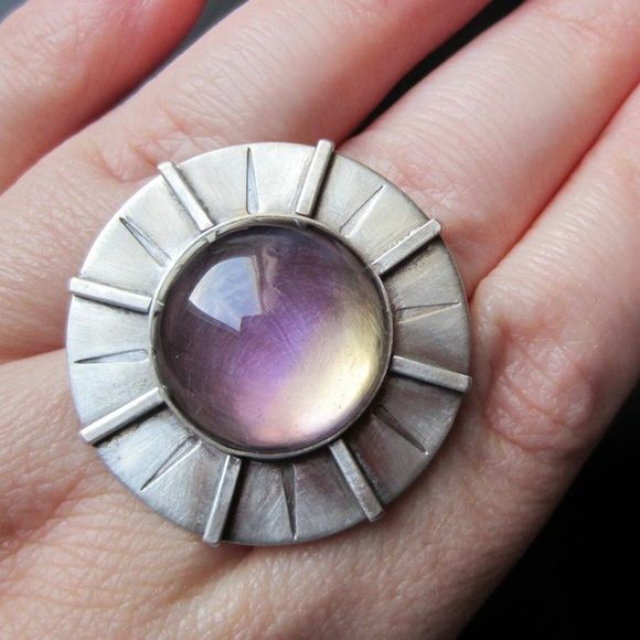 925 Silver sundial ring Ametrine This is a lovely Ametrine ring. Size 7.5. It's truly one of a kind. It's easy to wear. Stamped by artisan. Jewelry Rings