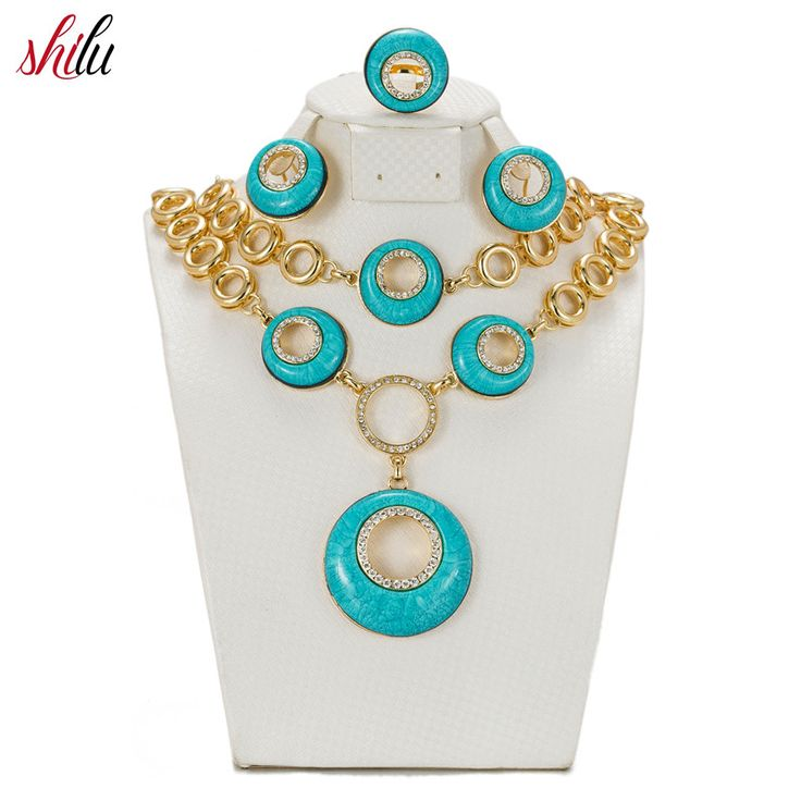 SHILU Women African Costume Gold color Jewelry Sets Crystal Rhinestone Dubai Bridal Wedding Accessories Earrings Necklace Set ** AliExpress Affiliate's buyable pin. Click the VISIT button to find out more on www.aliexpress.com