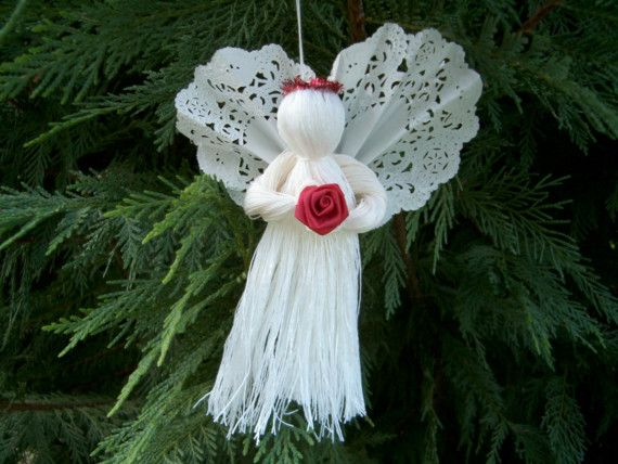 Sweet String Christmas Angel Ornaments